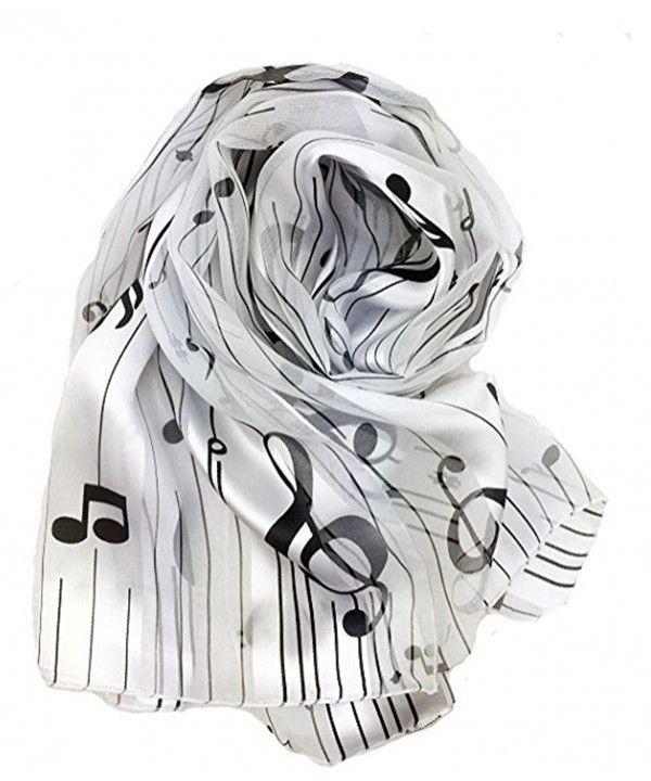 NEW Fashion Music Note Black and White Womens Long Scarf Shawl  USA SHIP