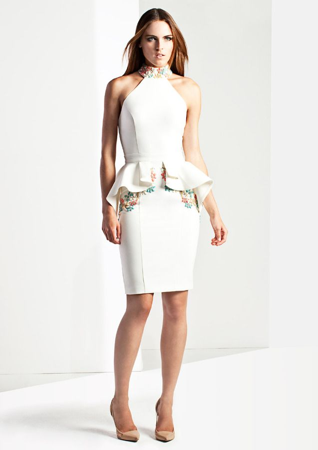 aad2bcdcfec Selected SOLANGE - Ivory High Neck Pencil Dress on shopstyle.com.au ...