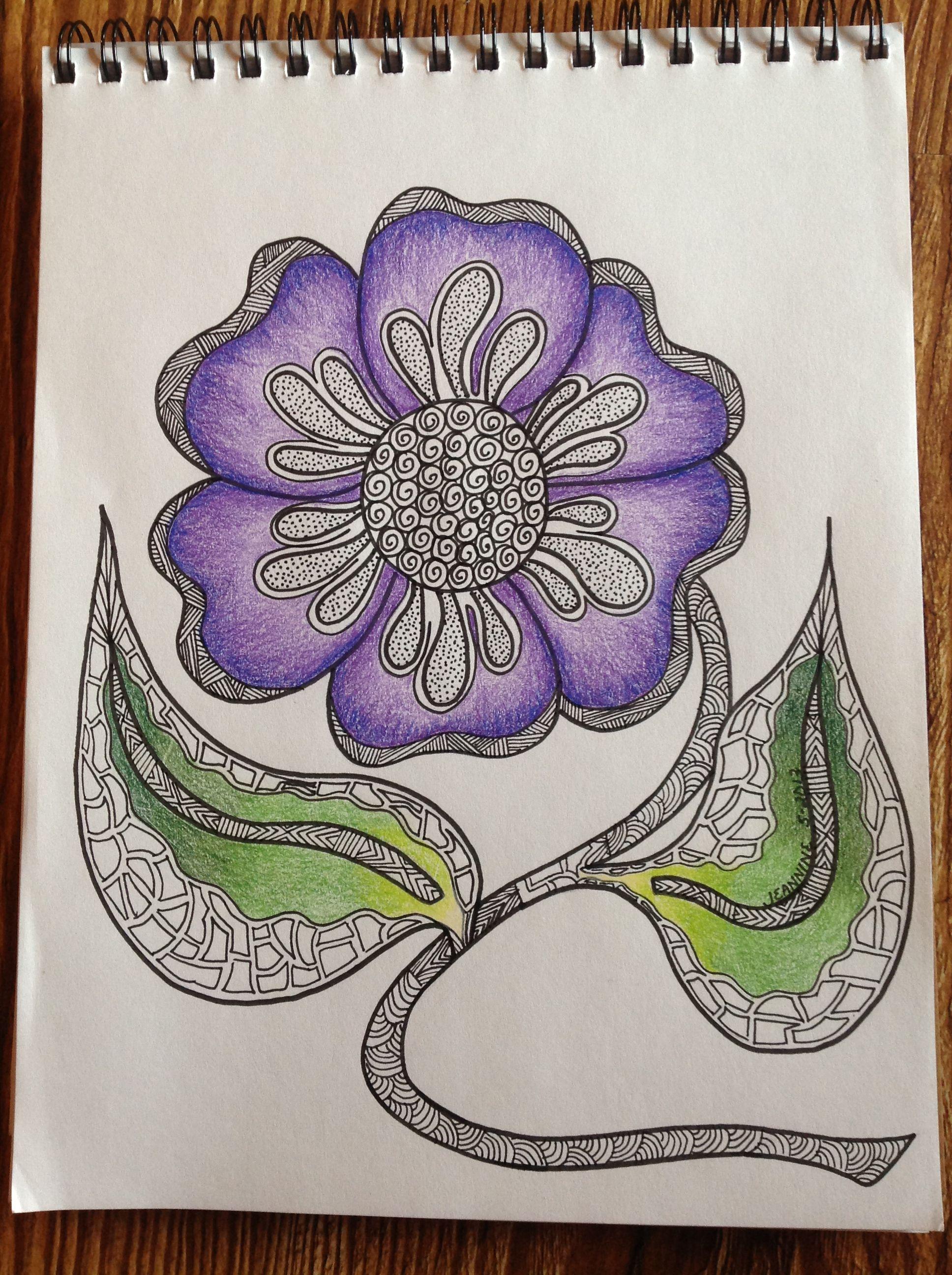 My Purple flower Zentangle | Sharpie art, Zentangle drawings, Zentangle patterns