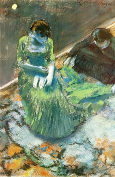 Before the Curtain Call, 1892 by Edgar Degas. Impressionism. genre painting. Wadsworth Atheneum, Hartford, CT, USA