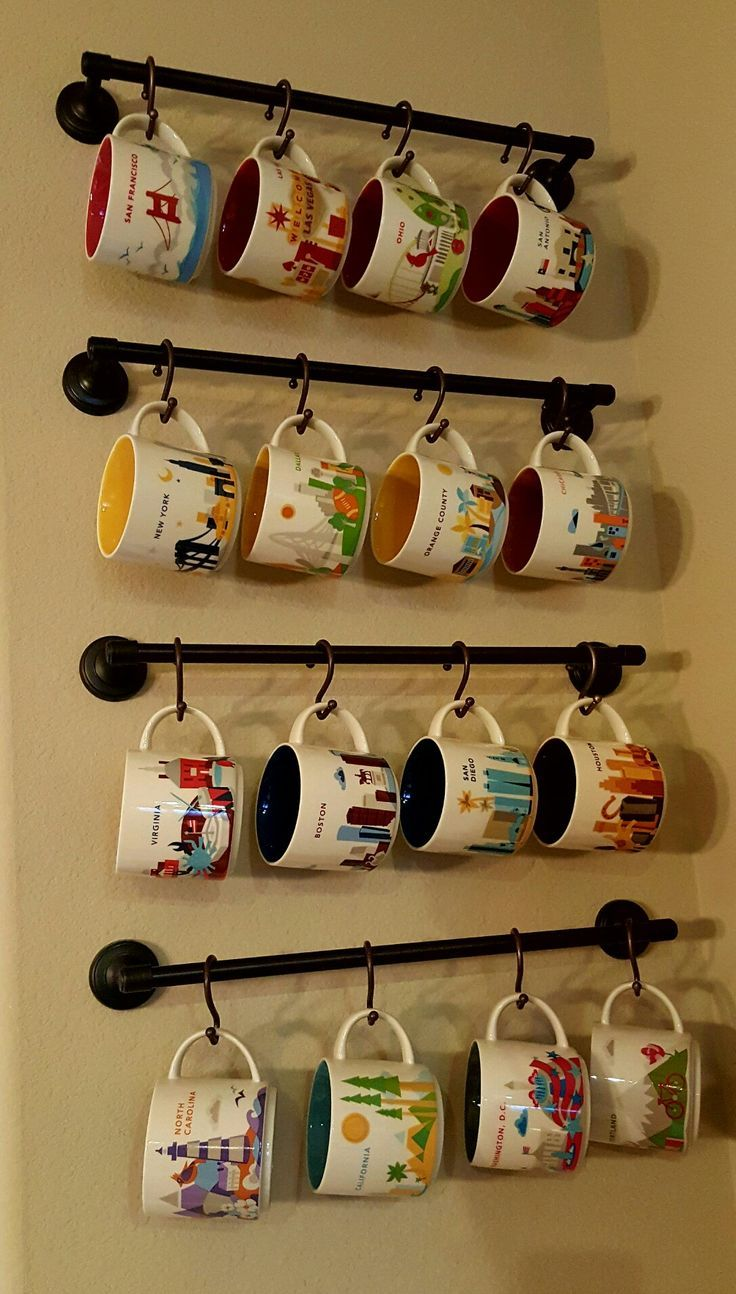 Image result for mug wall rack Coffee mug display, Diy