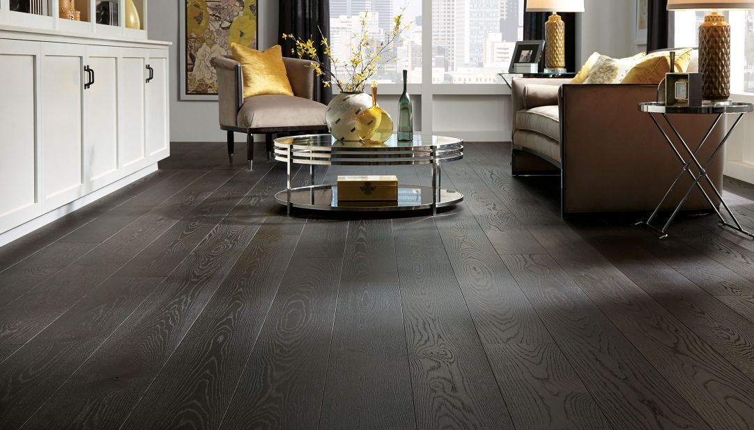 Dark Wood Flooring And Gold Accents Combine For This Stunning