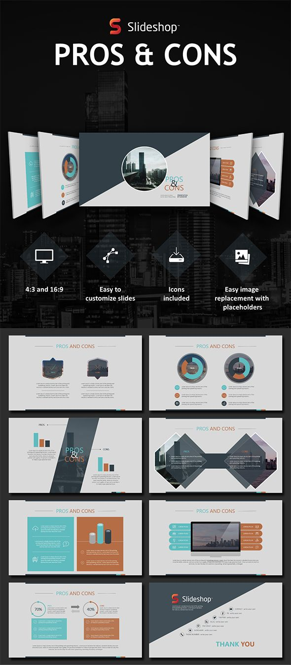Pros and Cons | Template, Presentation templates and Creative powerpoint