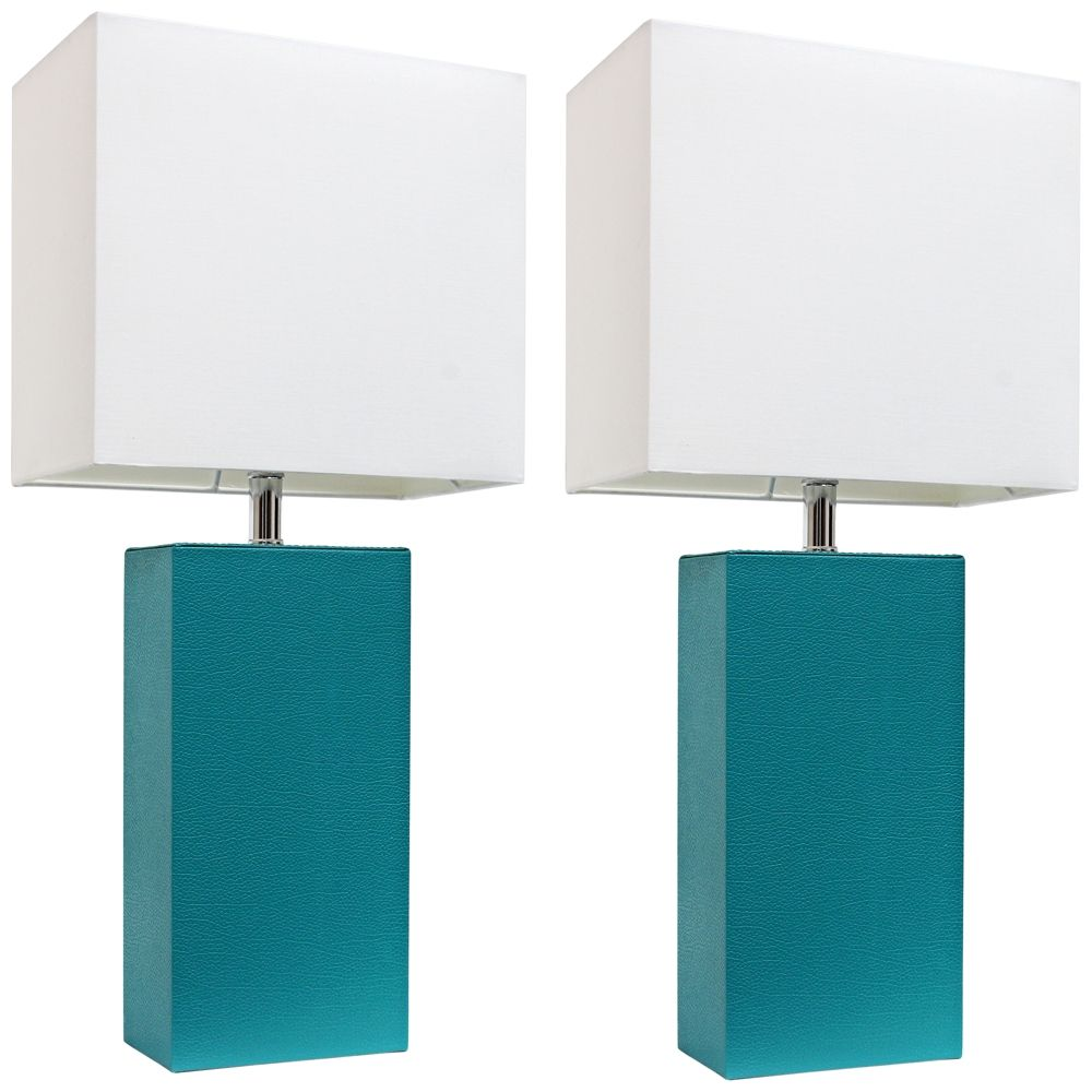Albers Teal Leather Accent Table Lamp Set Of 2   Style # 35V97