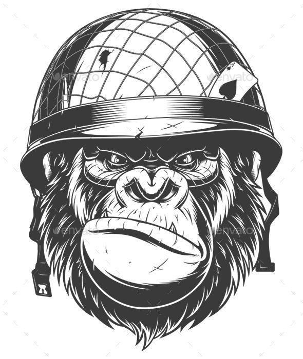 Gorilla In Military Helmet Vector Graphics Install Any