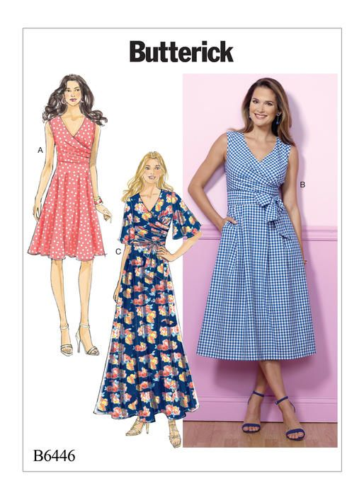 2042f678f1b0 B6446 | Misses' Pleated Wrap Dresses with Sash Sewing Pattern | Butterick  Patterns