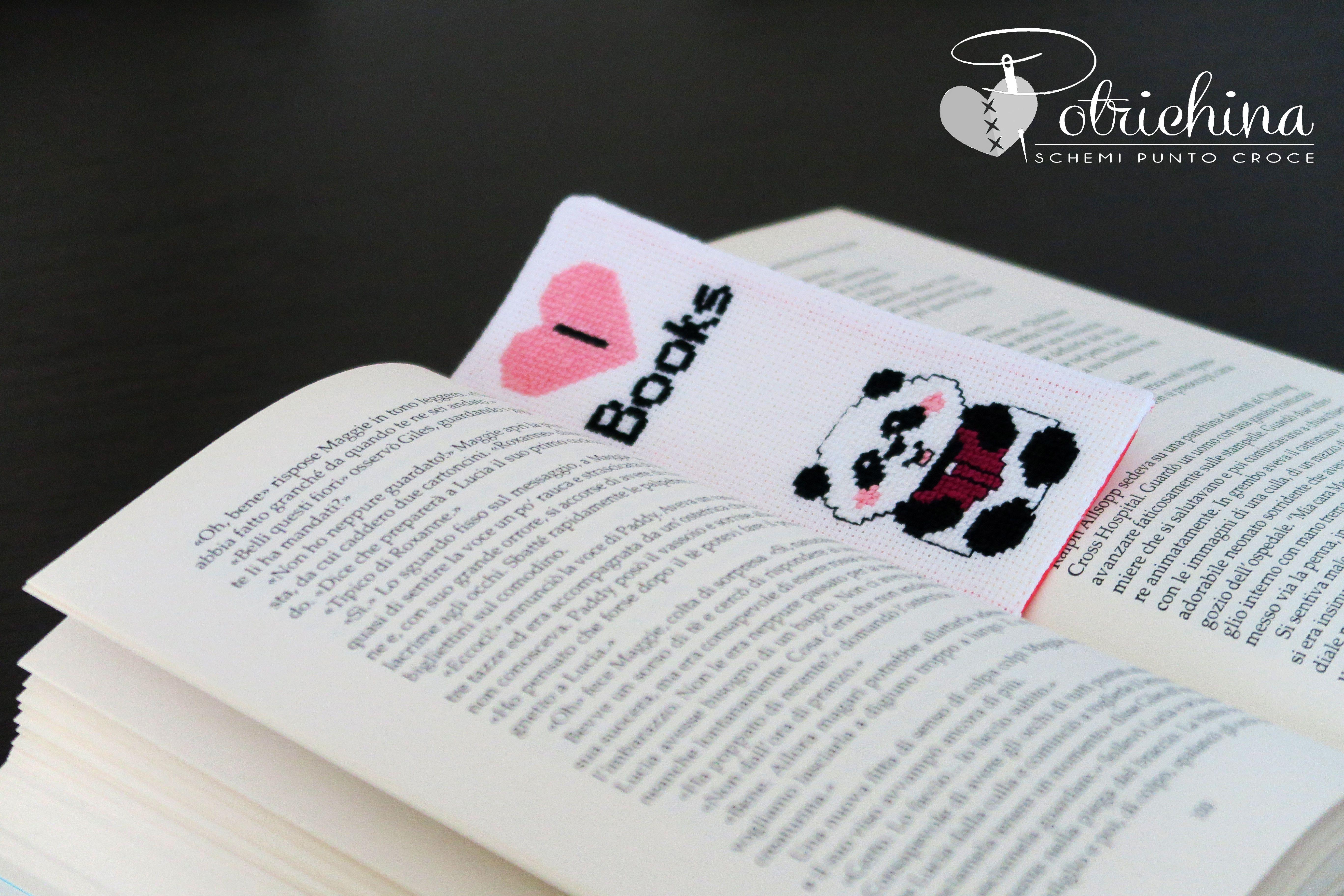 Segnalibro Bambini ~ Segnalibro con panda ricamato a punto croce schema punto croce