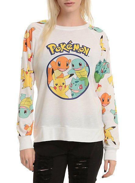 POKEMON Starters Crew Pikachu Charmander Pullover Sweater Long ...