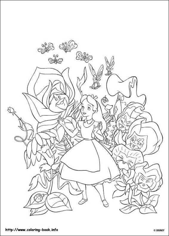 Alice In Wonderland Coloring Picture Alice In Wonderland Flowers Disney Coloring Pages Cartoon Coloring Pages