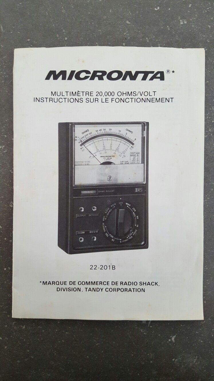 Livre d'instruction en francais Multimètre Micronta RS