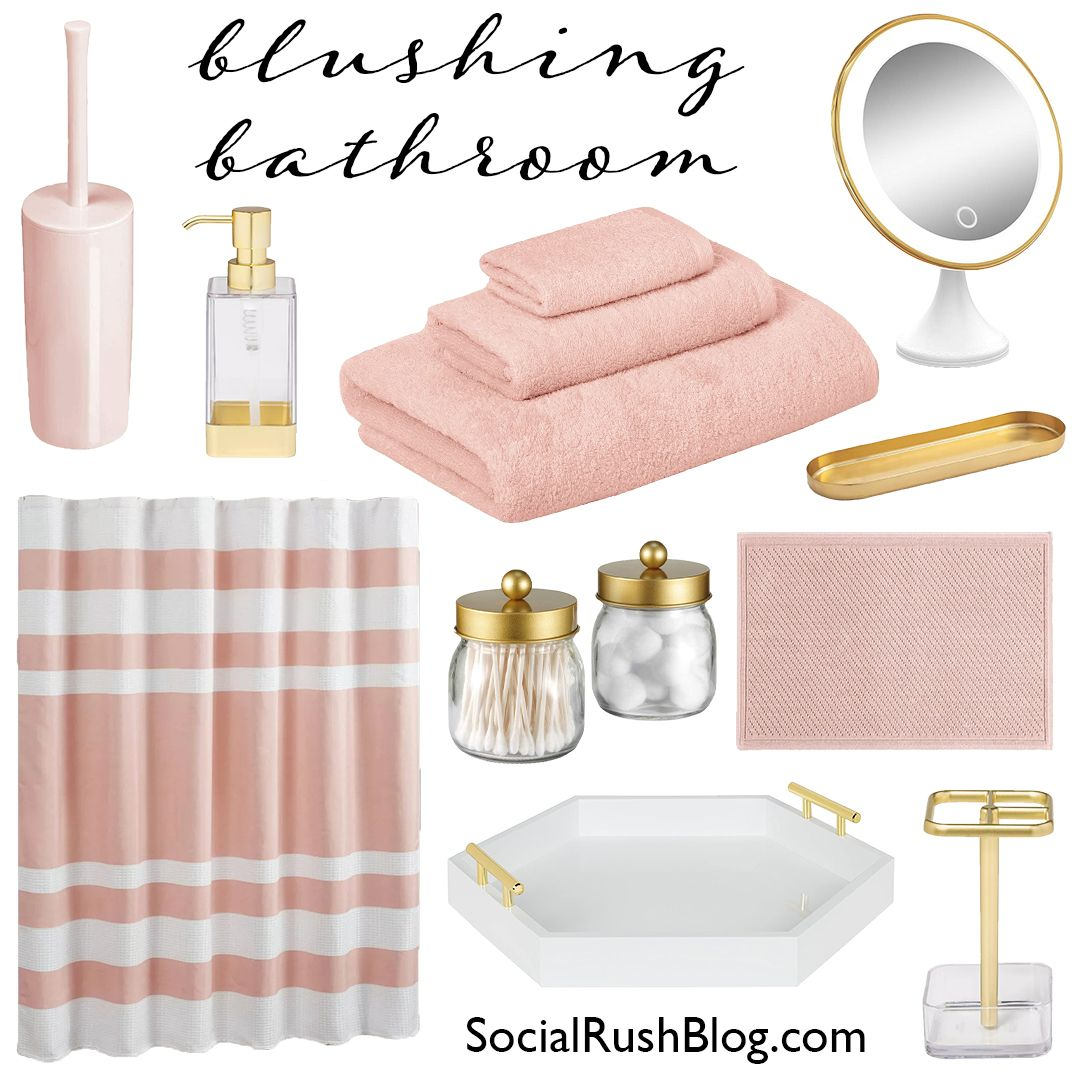 Pink, white and gold! The blushing bathroom is the perfect theme for any classy lady. #BathroomInspo #BathroomEssentials #HomeInspo #Bathroom #White #Gold #Pink #homelayoutinspo