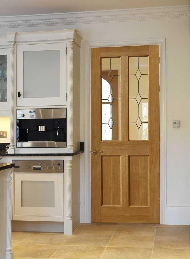 Oak Class Churnet Classic Oak Internal Door With Diamond Leaded
