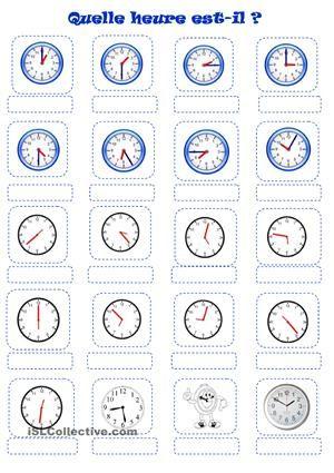 heure french l 39 heure pinterest french worksheets worksheets and fle. Black Bedroom Furniture Sets. Home Design Ideas