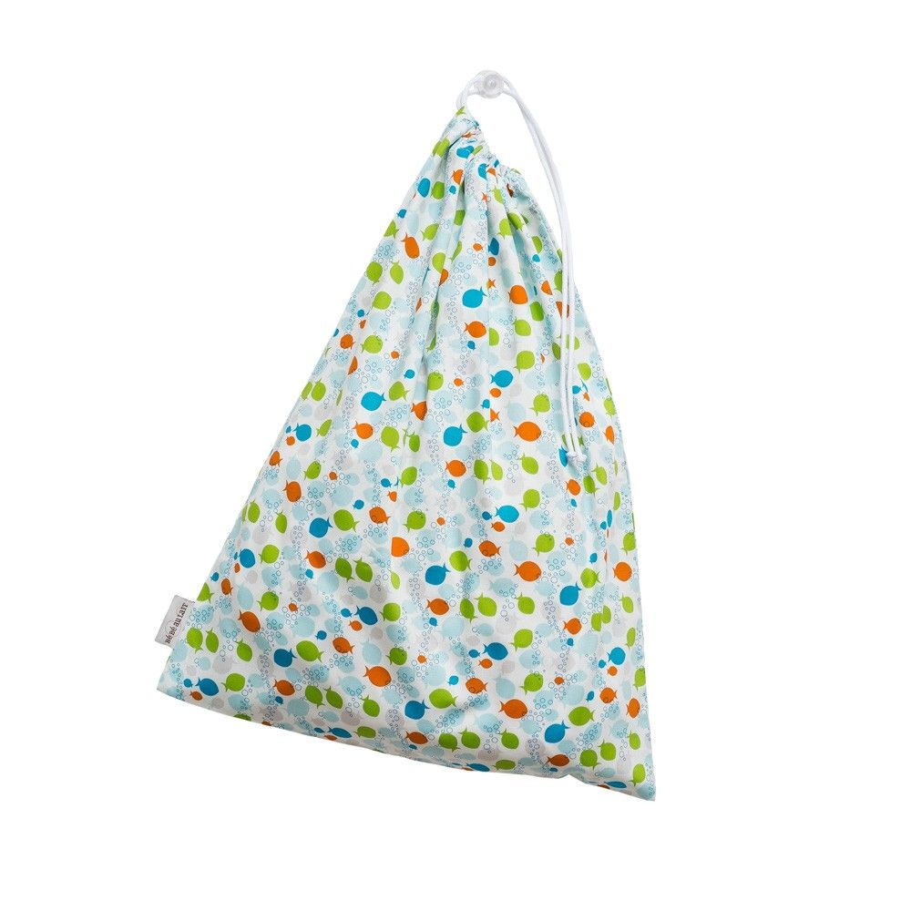 Lillie Collection Laundry Bag in Fishies Boy print- by Bebe au Lait