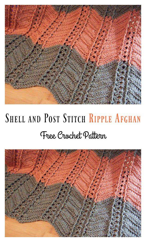 Vistoso Patrón Afghan Shell Crochet Libre Colección de Imágenes ...