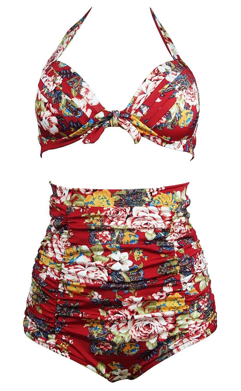 16a550a2ab Amazon.com  Cocoship Retro 50s Black   Colorful Rose Floral Halter High  Waist Bikini Carnival Swimwear M(FBA)  Clothing