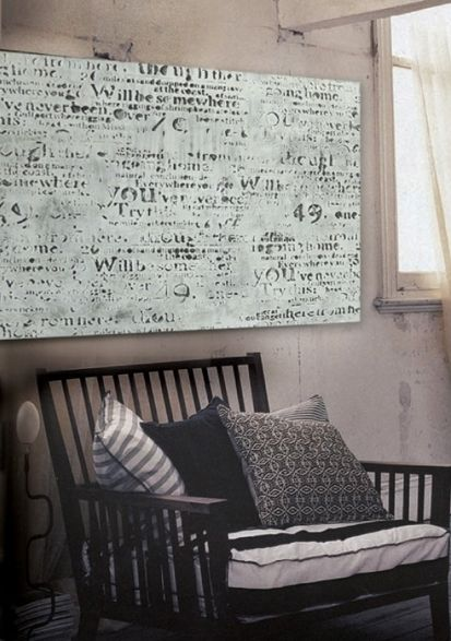 Newspaper wall art: maybe better on canvas than directly on the wall ...