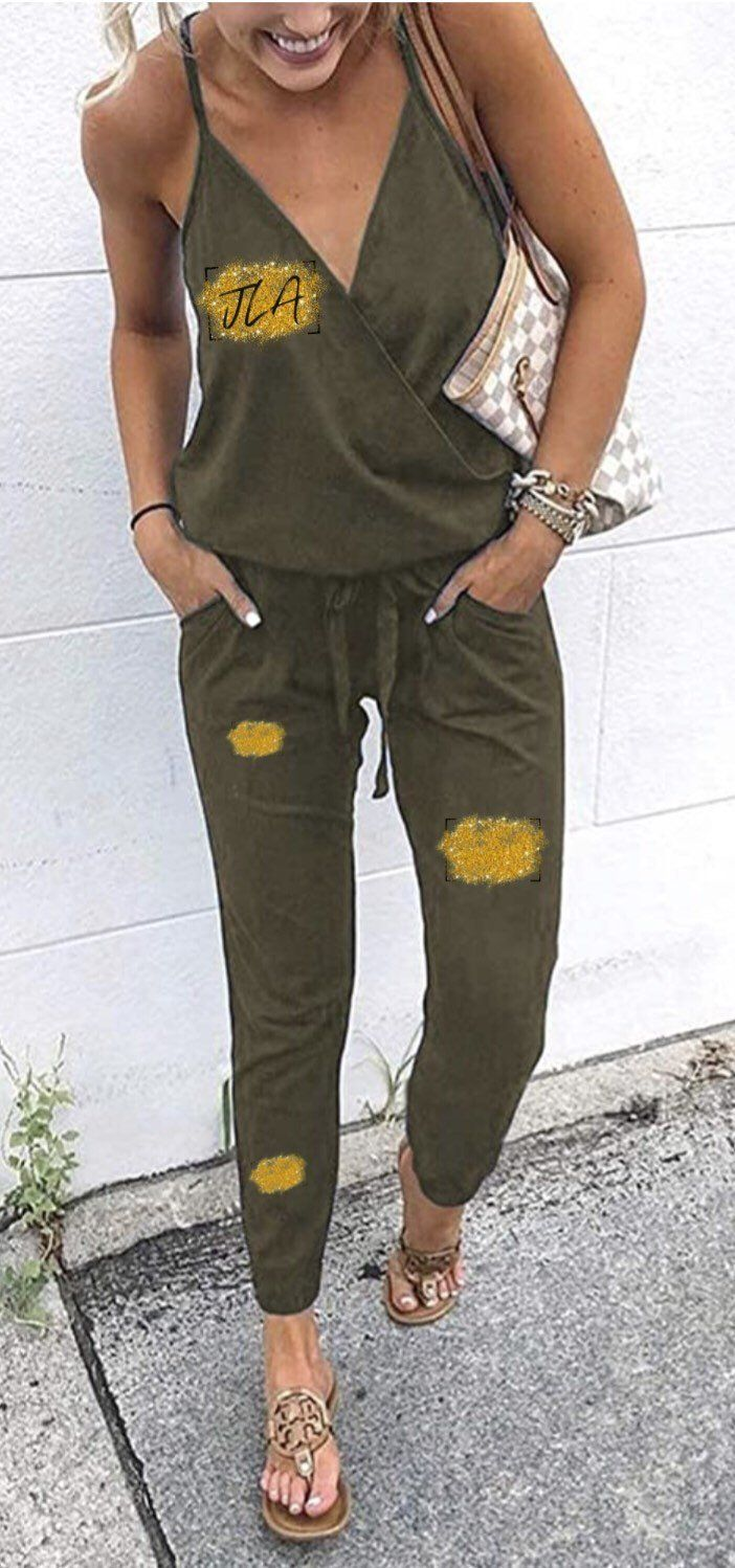 Womens Monogrammed Jumpsuit   S / Army Green Gallery