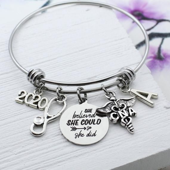 CNA Graduation Gift, Personalized CNA Charm Bangle