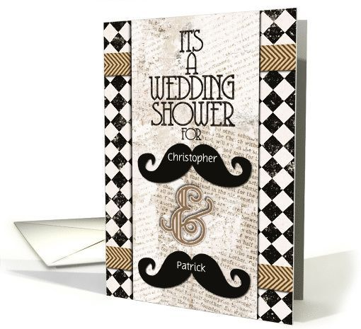 Wedding Announcements Custom Names Vintage Mustaches Card By Betsy Bush