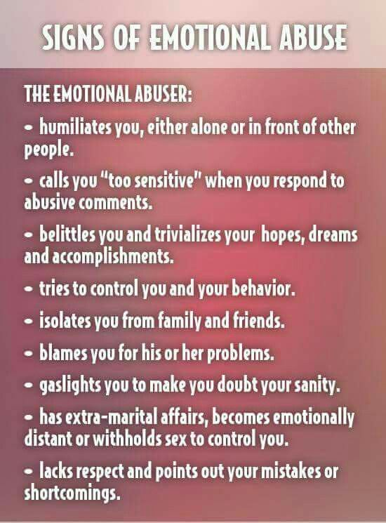 What are the signs of emotional abuse
