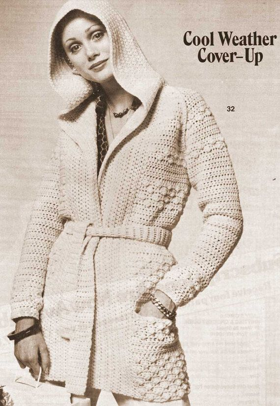 Vintage Crochet Pattern hooded Sweater Coat Robe Shawl Wrap Belted Open Front printable pdf download 1960