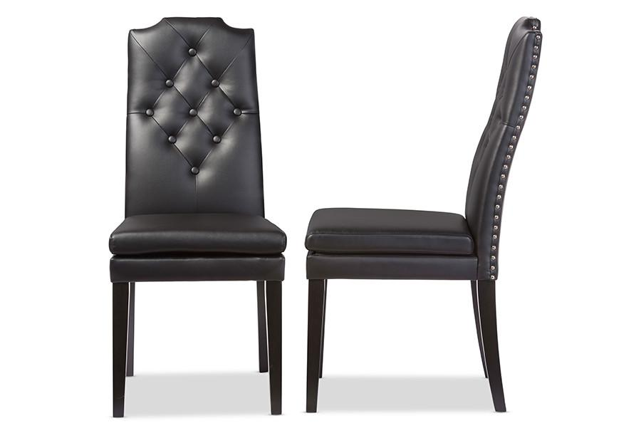 Baxton Studio Dylin Black Faux Leather On Tufted Nail Heads Trim Dining Chair Set