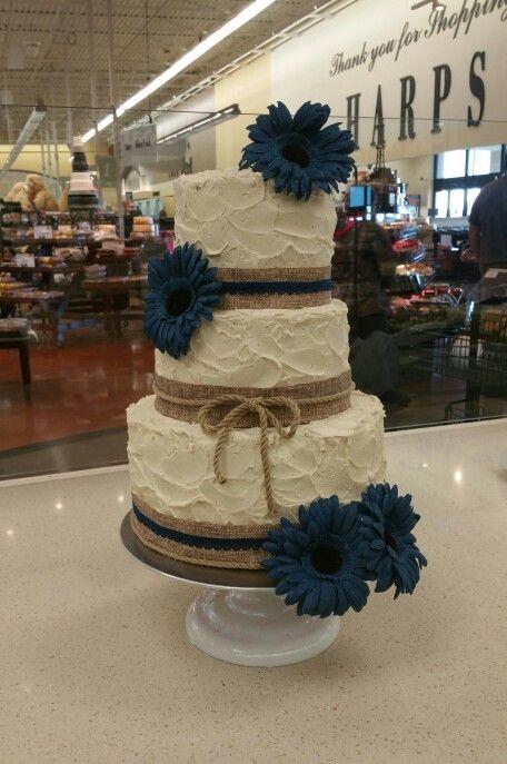 Rustic stacked buttercream wedding cake in ivory, denim ...