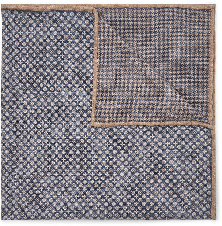 Brunello Cucinelli - Reversible Printed Silk Pocket Square - Men - Blue #pocketsquares