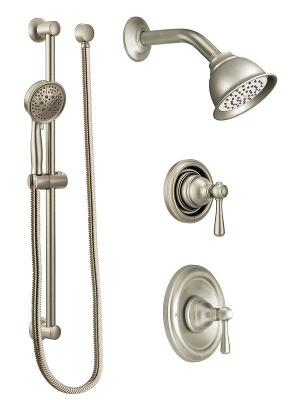 Genial Moen 525BN Brushed Nickel Pressure Balanced Shower System With Shower Head,  Diverter, And Hand Shower From The Kingsley Collection (Valves Included) ...