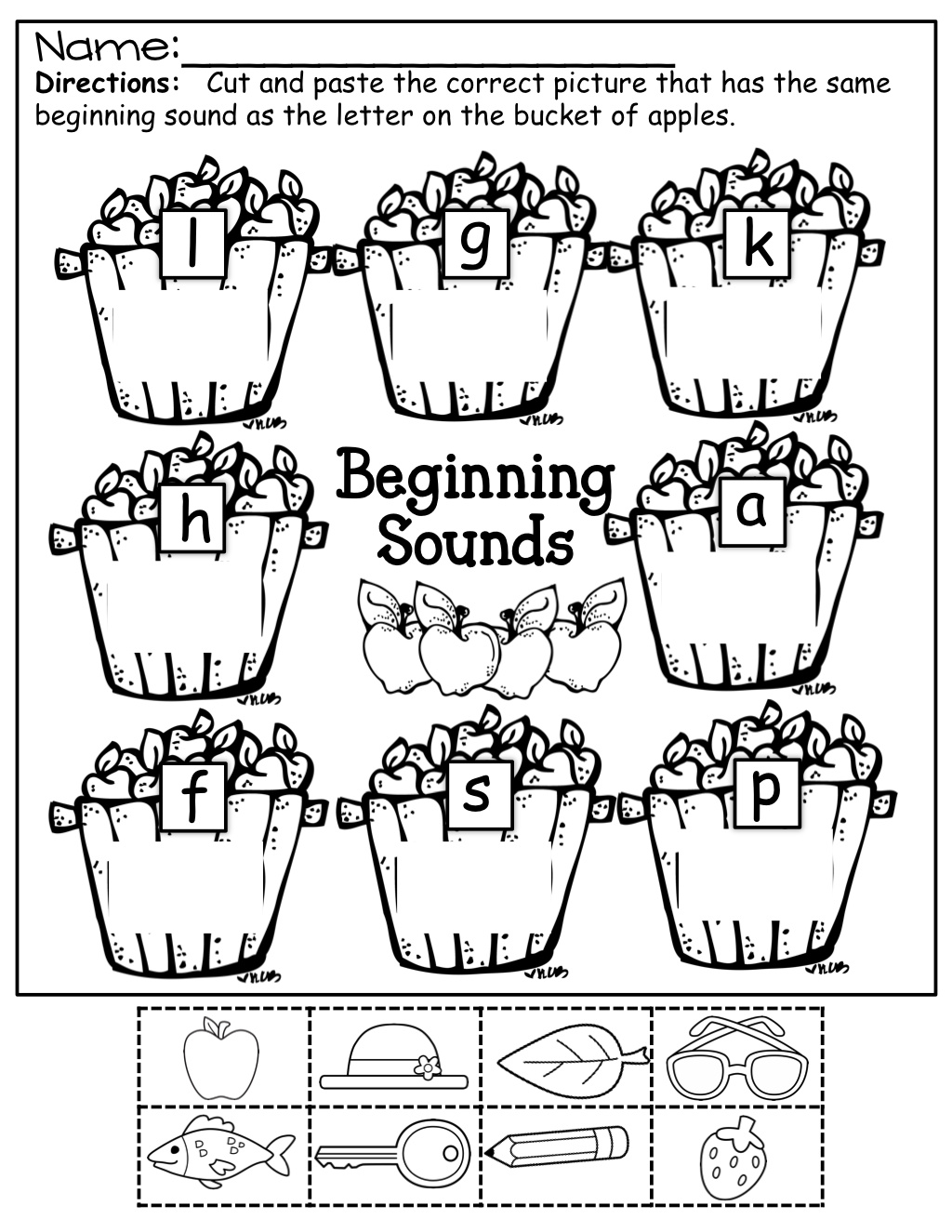 Beginning Sounds Cut And Paste For Fall