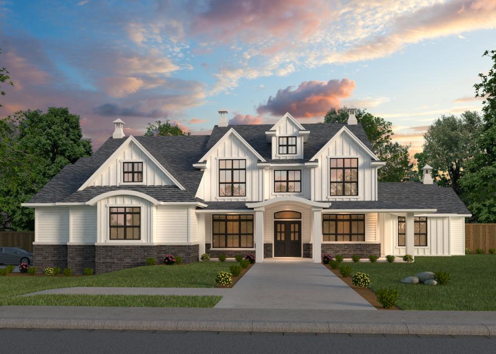 West Coast Eastgate House Plan   2-Story Modern Fa