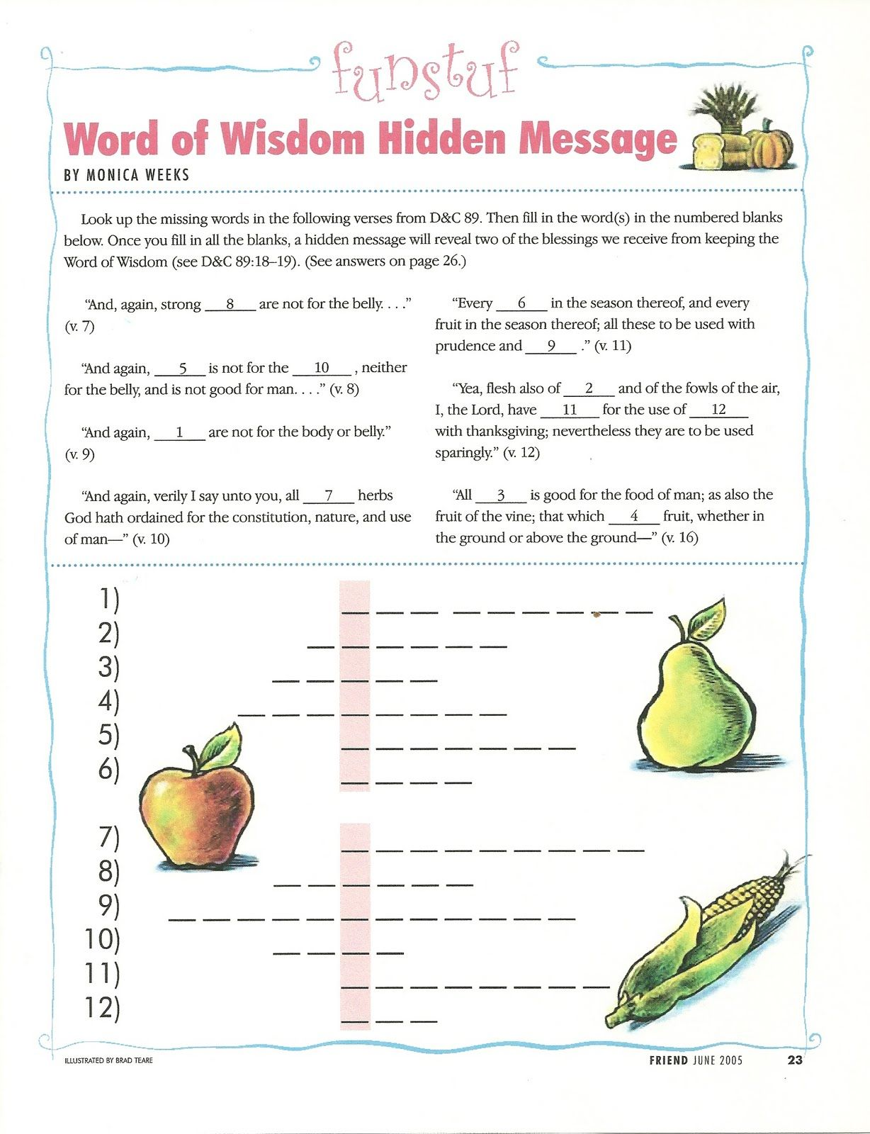 Word Of Wisdom Worksheet Friend Magazine Hidden Message