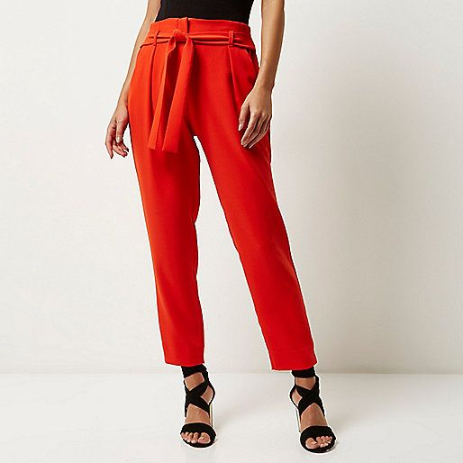 Womens Plus Pink tie waist tapered trousers River Island Professional Sale Online Cheap Authentic Recommend Cheap Price 0rGBTu7