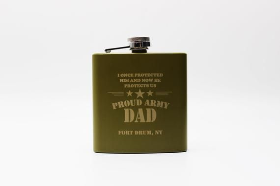 Proud Army Dad Whiskey Flask, Military Gifts, Army Gifts, Gift For Army Dad, Retirement Gift Idea, A
