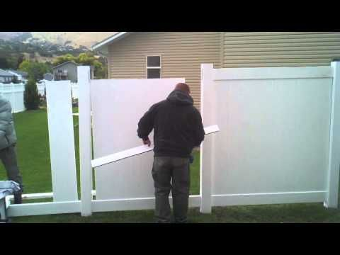 How To Install A Vinyl Privacy Fence Part 2 Vinyl Fence Vinyl Privacy Fence Brick Fence