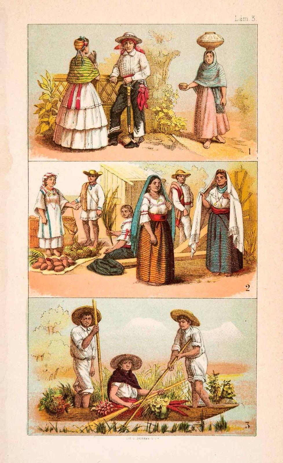 1876 hand-tinted Litografía Disfraz Etnología México Jarocho Veracruz
