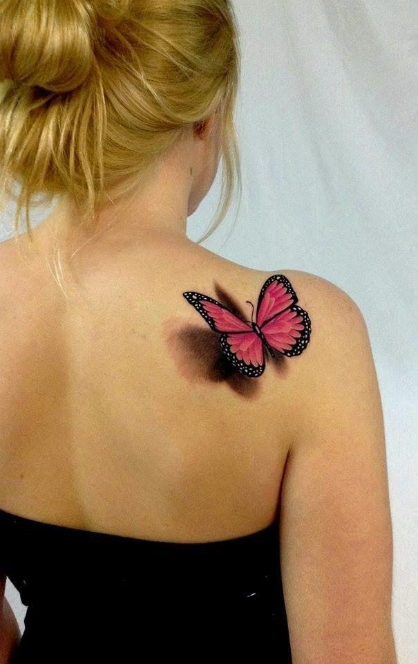 Tatuaje 3d De Mariposa En Espalda Para Mujeres Bob Tattoo