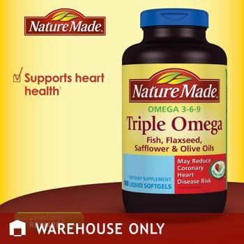 Costco Nature Made Triple Omega 180 Softgels Health Freak Health Dietary Supplements