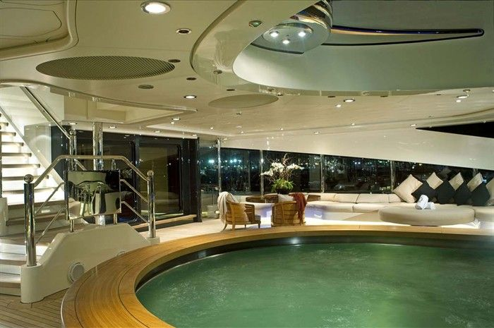 Palladium Superyacht First Pool Aft Deck Night Detail ...