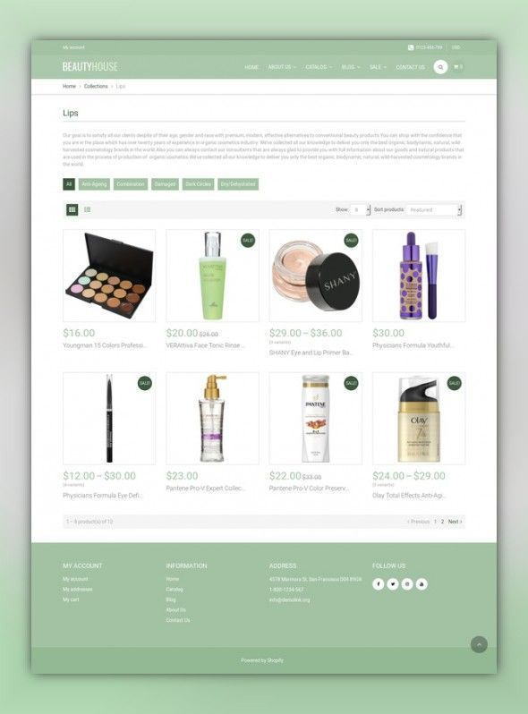 BeautyHouse Cosmetics Store Shopify Theme Ecommerce Templates - Shopify store templates