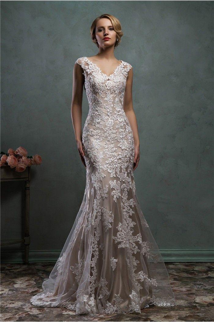 Mermaid-V-Neck-Low-Back-Cap-Sleeve-Champagne-Satin-Lace-Wedding ...