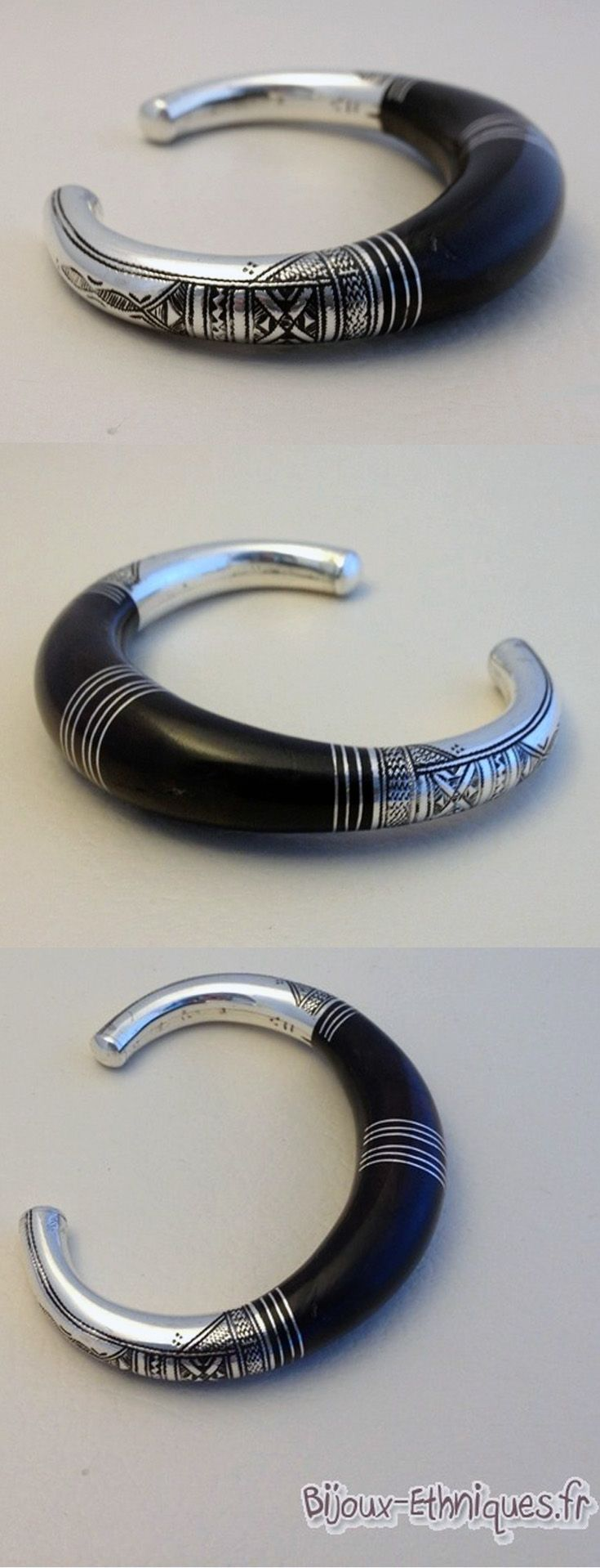TRADITIONAL ART TOUAREG bracelet in silver 925 and ebony wood