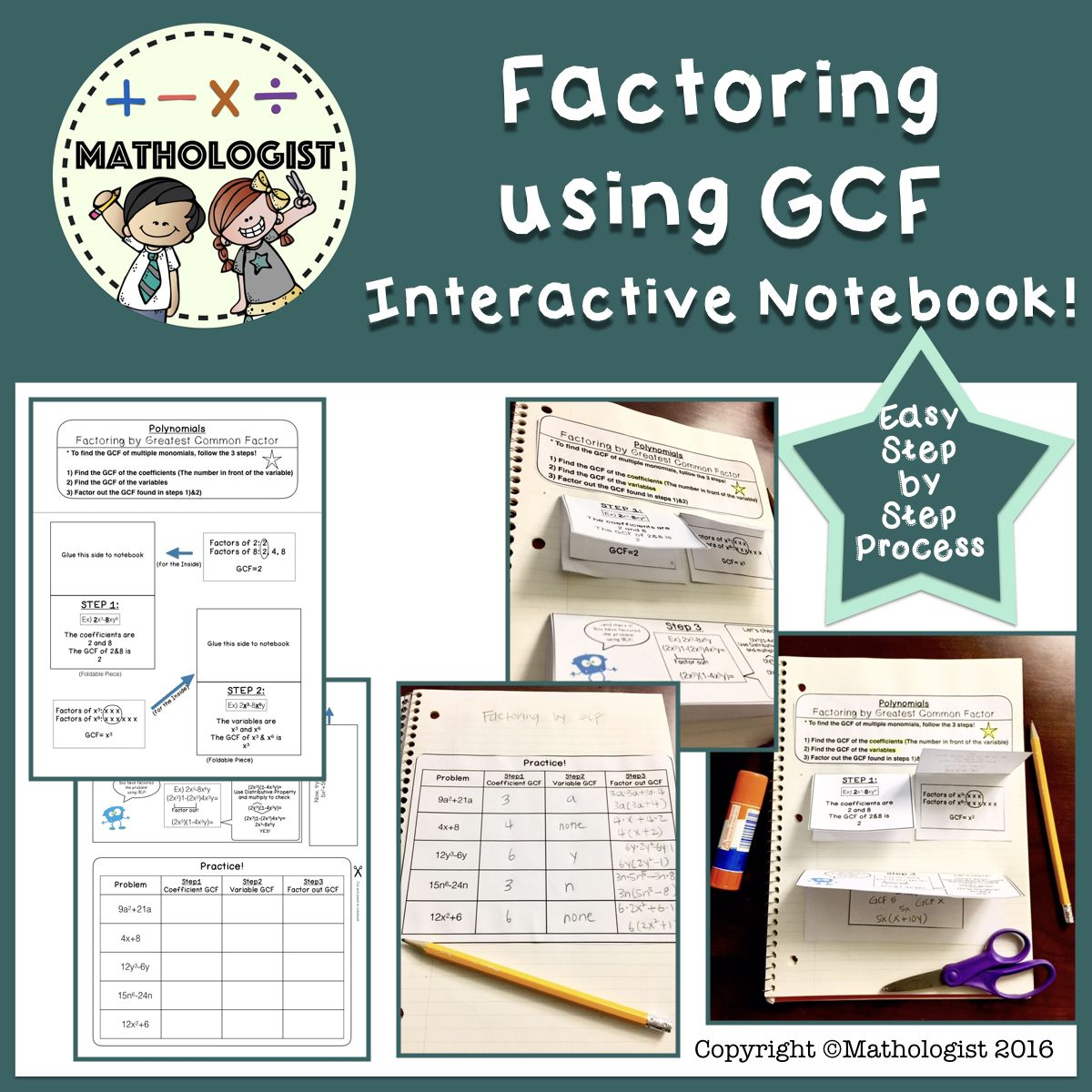 Factoring Using Gcf Greatest Common Factor Algebra Interactive Notebook