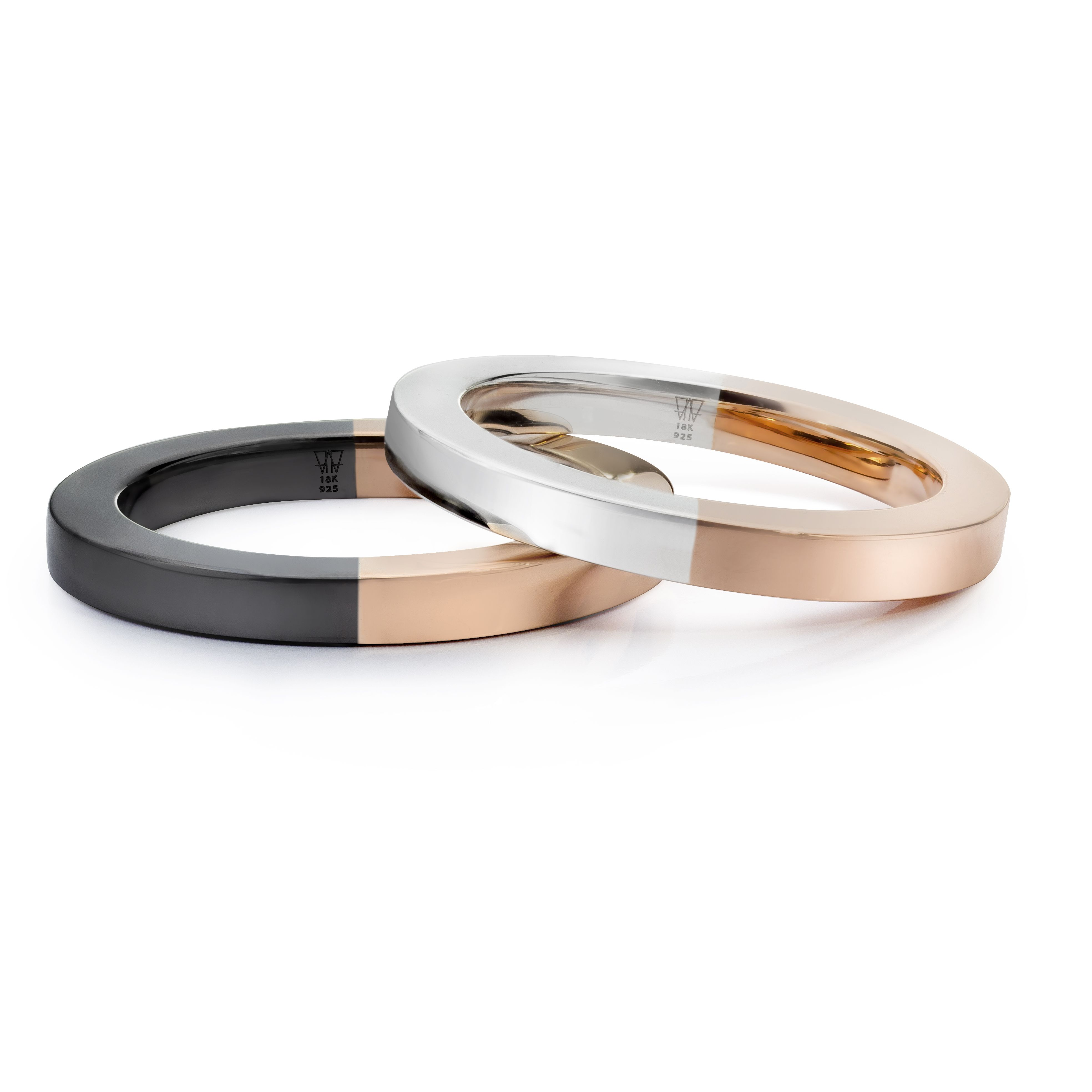 Half 18K Rose Gold and Black Rhodium Plated Sterling