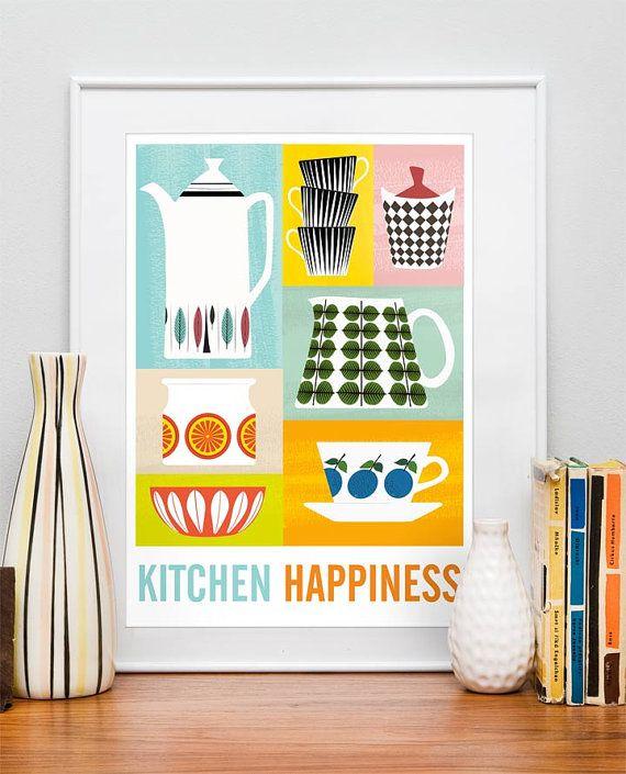 Wonderful Mid Century Poster Kitchen Art Stig Lindberg By Handz On Etsy, $43.00