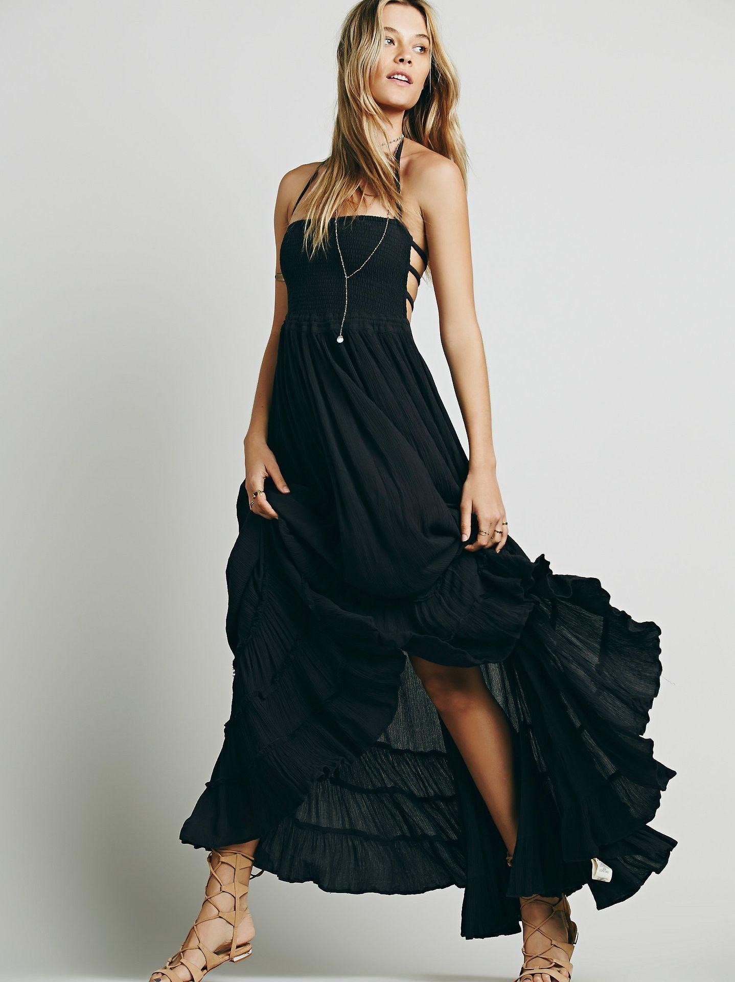 28a6f75e63 Backless Spaghetti Strap Sleeveless Long Beach Dress | Blue ...