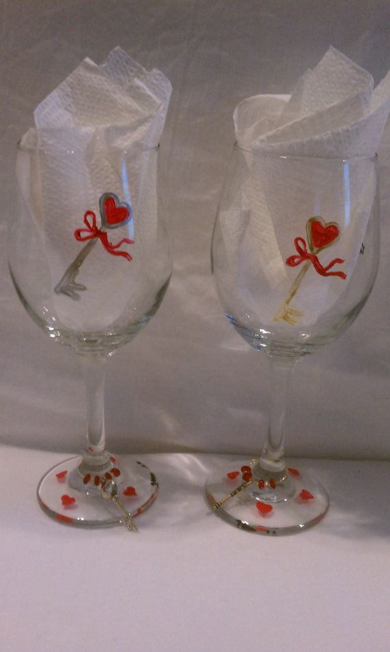 Hand Painted Valentines Day Wine Glasses Glass Projects