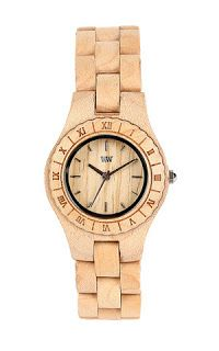 This beige ladies watch is from WeWood, and has an attractive round face with roman numeral markings.