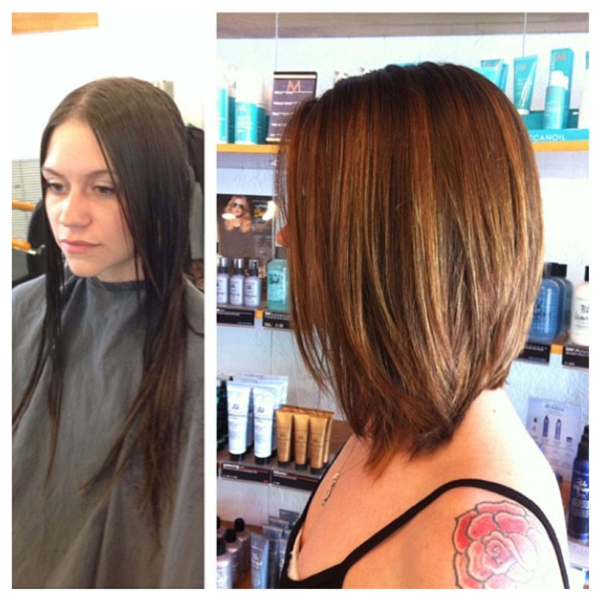 Before And After Total Transformation Long Bob Balayage Highlights